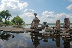 Remic Rapids ~ These rock sculptures are balanced with no adhesives used, along the river shoreline in Ottawa Ontario, Canada ~ Photo by...Paul Crozier© 1 of 2