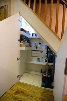 Under stairs storage in London, Surrey Under Stairs Pantry, Room Under Stairs, Basement Stairs, Under Stairs Cupboard Storage, Staircase Storage, Hallway Storage, Stair Storage, Home Stairs Design, Home Room Design