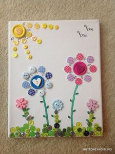 Gorgeous Button Art Flower Canvas by ButtonsandBlingbyDeb on Etsy, £8.99: