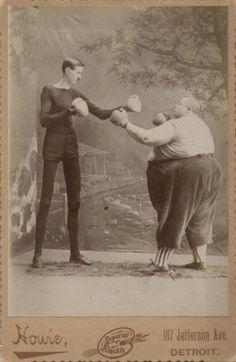 c1890 Human Skeleton G. Moore boxing Fatman F. Howe