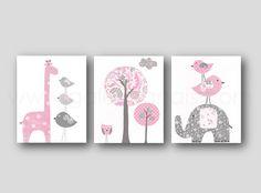 Elephant nursery art giraffe nursery wall art Baby Girl Nursery Decor tree bird Kids wall art pink and gray nursery - Set of three prints