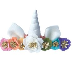 Unicorn Horn Headband Flower Crown pastel by TreasuredPeach