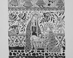"""Traditional Lithuanian Linocut """"Nativity Scene"""" by Odeta Brazeniene"""