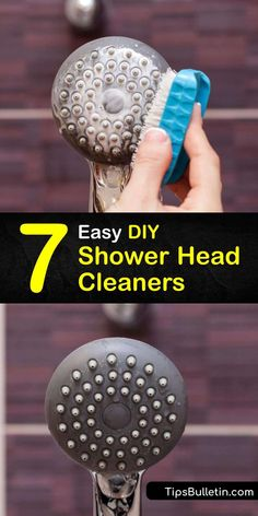 Learn how to clean your shower head to remove mineral buildup and grime and restore the water pressure. Clean away calcium and mineral deposits left behind from hard water by soaking the head in vinegar and baking soda and scrubbing it with a toothbrush. #DIY #showerhead #cleaner Bathroom Cleaning Hacks, House Cleaning Tips, Spring Cleaning, Diy Cleaners, Household Cleaners, Remove Rust Stains, Natural Showers, Vinegar Cleaner, Shower Cleaner