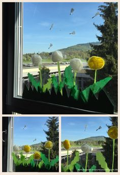 Aus Muffinförmchen lassen sich ganz einfach Blumen basteln. Wir haben unsere Klassenzimmerfenster als Löwenzahnwiese gestaltet. Für die F...