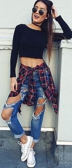 Black Crop Sweater + Plaid Shirt + Destroyed Jeans                                                                             Source