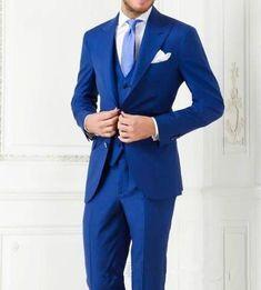 Best Selling Costume Homme Business Mens Suits Wedding Suits For Men Ternos Masculinos Slim Fit Tuxedos(Jacket+Pants+Vest) Formal Dresses For Men, Formal Suits, Men Formal, Formal Wear, Groom Tuxedo Wedding, Wedding Men, Wedding Suits, Wedding Tuxedos, Royal Blue Suit Wedding