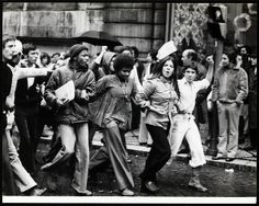"""1974 Carnation Revolution -The Portuguese youth demonstrating in support of the overthrow of the Fascist """"Novo Estado"""" regime."""