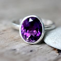 Grape Amethyst Ring Oval Amethyst gemstone Ring by onegarnetgirl, $248.00