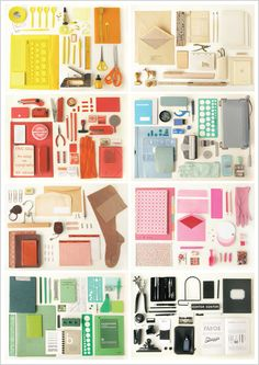 """Office Supplies Beautifully Organized Final Frame        """"We used things we found around us in our everyday life, a mishmash of ordinary but beautiful things that describe the craftsmanship behind graphic and office work."""" -  Kontor Kontur"""