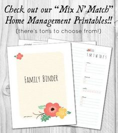 Free Mix and Match Home Management Binder Printables!  //  fabnfree.com Like the weekly planner