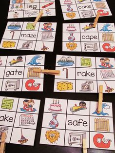 Long A clip cards where students read the a_e word in the middle and clip a clothespin onto the picture - fun easy long vowels practice center