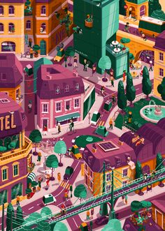 A cycling-themed cityscape for the swiss accident prevention agency. City Illustration, Graphic Design Illustration, Digital Illustration, Isometric Art, Isometric Design, Design Graphique, Illustrations And Posters, Land Scape, Pixel Art