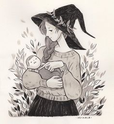 Inktober day 8, Daughter and Mother 🍂✨👩👧Dedicated to my mom💖 #inktober #witch