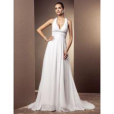 Vestido de Boda Clásico y Atemporal/Glamouroso Corte Columna Escote en V Tribunal ( Gasa ) – USD $ 149.99