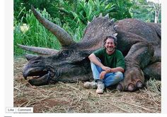 Steven Spielberg with his slaughtered triceratops. I am shocked and amused that some people are freaking out over the 'murder' of this dinosaur. Just how insane are people? lol