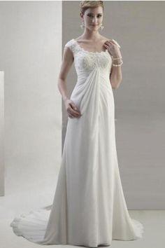 Straps Neckline Chiffon Fabric Maternity Wedding Dress