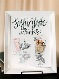 Signature drink menu with cute drawings and calligraphy # Food and Drink menu signature cocktail Gorgeous Dallas Wedding with Outdoor Ceremony & Ballroom Reception Wedding Drink Menu, Wedding Signature Drinks, Wedding Signage, Signature Cocktail, Cocktail Menu, Magical Wedding, Diy Wedding, Wedding Day, Wedding Foods