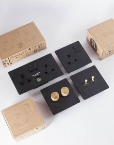 Designer light switches, dimmers and plug sockets If you're looking for designer light switches, dimmers or plug sockets for your industrial-style interior, you're certain to find the perfect one in our range. Black Gold Jewelry, Black Silver, White Gold, Black White, Black Light Switch, Designer Light Switches, Light Switches And Sockets, Gold Light, Switch Plates