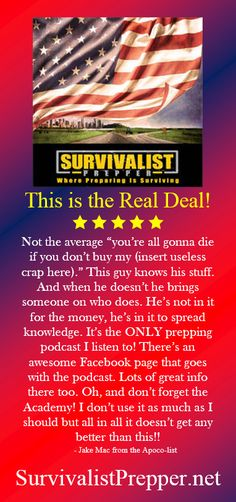 """What a great Podcast! Survivalist Prepper @prepsurvive is all about survival for preppers, prepping and living off the grid without all the """"tin foil hat"""" stuff. Learning how to become self sufficient and living without any outside help from the government. Stay up to date with the latest prepper news and information like bugging out and bugging in."""