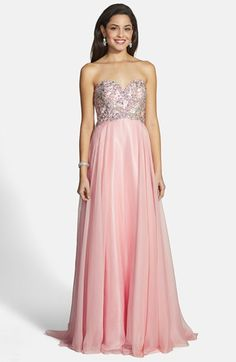 Pink 1920s Great Gatsby Prom Dress  Women's Alyce Paris Embellished Strapless Chiffon Gown