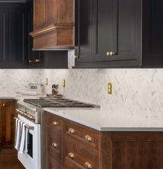A two-toned design with black painted upper/ wall cabinets combined with rich, warm stained cherry below. Inset Cabinetry by Stained Kitchen Cabinets, Two Tone Kitchen Cabinets, Kitchen With Cherry Cabinets, Kitchen Countertops, Kitchen Wall Colors, Kitchen Layout, Kitchen Design, Staining Cabinets, Wall Cabinets