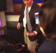 """Then Burrous got up from his chair showing that while he was anchoring in the show, he had only been wearing shorts. """"Talk about inappropriate!"""" Chan said. 