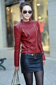 New women's fashion collar short paragraph leather coat jacket Slim #111 #Handmade #BasicJacket