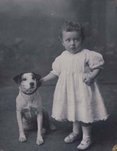 child with dog vintage photo