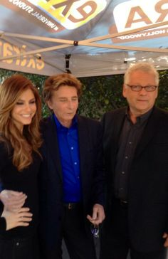 Maria Menounos, Barry Manilow and Bruce Sussman on the set of Extra.