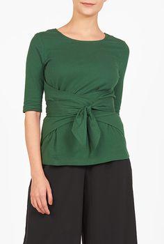I <3 this Cotton knit trapunto sash tie top from eShakti