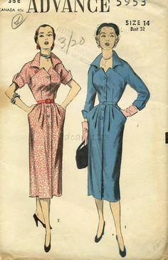 Vintage 1950s Pattern Sawtooth Bodice Shirtwaist от sydcam123