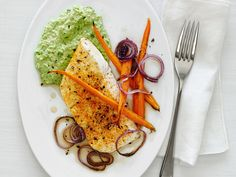Broiled Halibut with Ricotta-Pea Puree recipe from Food Network Kitchen via Food Network