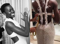 2015 Oscars Red Carpet by the Numbers: $7.5 Million in Diamonds, 6,000 Pearls, 9 Versace Dresses & More!  Lupita Nyong'o, Pearl Dress, Calvin Klein