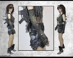 Mad MAx Post Handschuhe schwarz apokalyptischen Handschuhe schwarz lange Handschuhe Fallout apokalyptischen Handschuhe von WastelandWearable