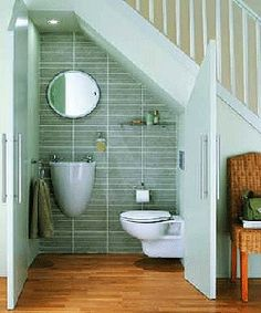 small space =feeling claustrophobia. small place for a bath room, under the stair case. very tight packed. DEFINITION: other small rooms and spaces feel claustrophobic.