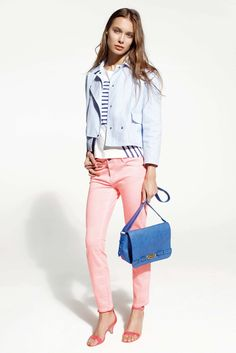 Love the pink jeans, stripe shirt, blue jacket --  SS13 collection