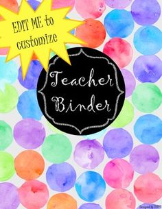 I'm really excited about this line of watercolour covers. All hand made by yours truly: DUFFS! Teacher Binder Organization, Teacher Binder Covers, Sub Binder, Student Data, The Duff, My Teacher, Watercolour, Handmade, Pen And Wash