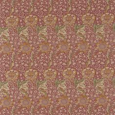 From the William Morris Archive Collection produced by Sanderson. Kennet is a large scale floral in gold with a smaller floral background printed with a soft red background William Morris, Harlequin Fabrics, Sanderson Fabric, Painted Rug, Thing 1, Made To Measure Curtains, Yellow Fabric, Arts And Crafts Movement, Designer Wallpaper