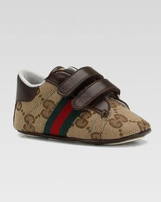 Ace+Double-Strap+Sneaker,+Brown,+Baby+by+Gucci+at+Neiman+Marcus.