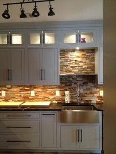 White Stone Backsplash Kitchen exterior stacked stone back splash- living with kids: regina