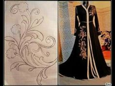 Pattern for j Embroidery Motifs, Hand Embroidery Designs, Embroidery Dress, Clothing Patterns, Dress Patterns, Sewing Patterns, Diy Fashion, Womens Fashion, Fashion Design