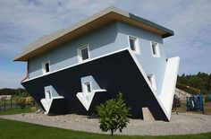 """Klaudiusz Golos and Sebastion Mikuciuk created this upside down house for an exhibit in Trassenheide, Germany. It's clearly unlivable still a lot of fun. """"Crazy Upside Down House in Germany"""" (Thanks, Lindsay Tiemeyer! Houses In Germany, Architecture Unique, Interior Architecture, Interior Design, Upside Down House, Crazy Home, Unusual Buildings, Unusual Homes, Up House"""