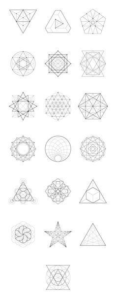 Mandala zentangle pattern inspiration Sacred Geometry: 60 Items by kloroform on Creative Market Geometric Patterns, Geometric Designs, String Art Patterns, Geometric Drawing, Geometric Art, Geometric Symbols, Geometric Triangle Tattoo, Triangle Art, Geometric Flower