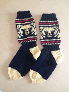 Image result for karhusukka ohje Knitting Charts, Knitting Socks, Knit Socks, Knitting Ideas, Mittens, Christmas Stockings, Winter, Image, Diy