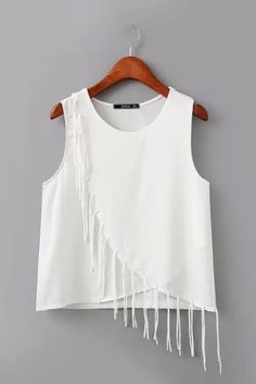 Shop Women's Tees at Genuine People White Fringe Wave Blouse Girls Fashion Clothes, Teen Fashion Outfits, Stylish Outfits, Girl Outfits, Blouse Styles, Blouse Designs, Girls Top Design, Used Dresses, Sleeves Designs For Dresses