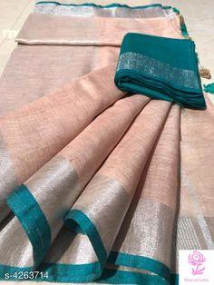 Pure Linen Saree: Free COD Fabulous Women's Sarees Saree Fabric: Pure Linen Blouse: Running Blouse Blous. Handloom Saree, Silk Sarees, Wedding Sari, Plain Saree, Elegant Saree, Work Blouse, Festival Wear, Indian Wear, Party Wear