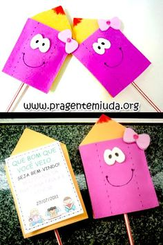 Lembrancinhas - Lápis porta-pirulito - Dicas pra Mamãe Fun Crafts, Crafts For Kids, Paper Crafts, First Day School, Back To School, Craft Activities For Kids, Learning Activities, Student Welcome Gifts, Teaching Kids