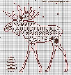 Now THIS is one I like! I could make it as a CHRISTmas sampler - moose alphabet