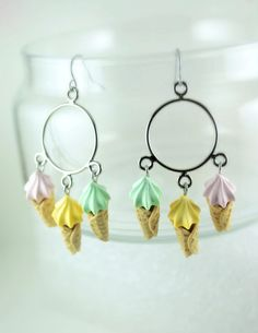 Ice Cream Overdose Chandelier Earrings. Handmade Polymer Clay Food Jewelry.